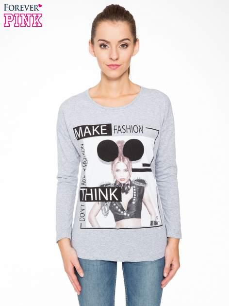 Szara bluzka w stylu fashion                                  zdj.                                  1