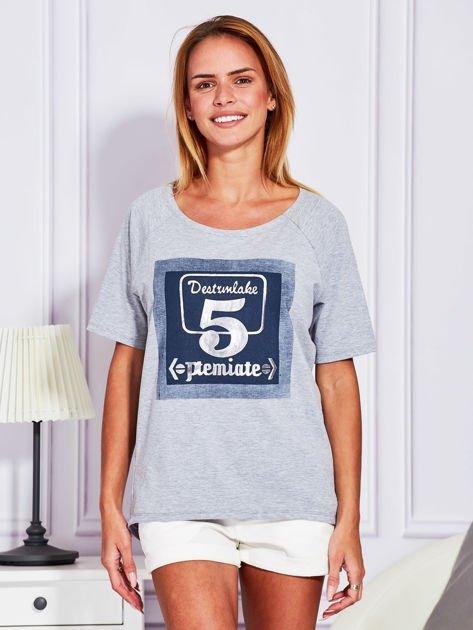 Szara bluzka z cyfrą 5                              zdj.                              1