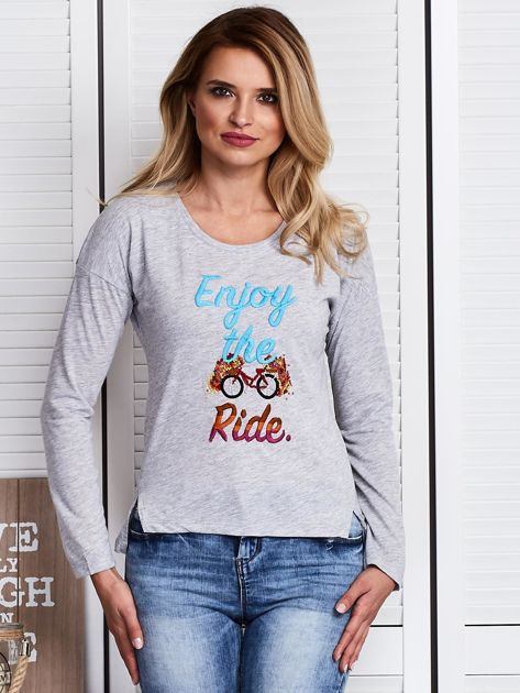 Szara bluzka z haftowanym rowerem                              zdj.                              1