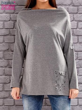 Szara bluzka z koralikową aplikacją                                  zdj.                                  1