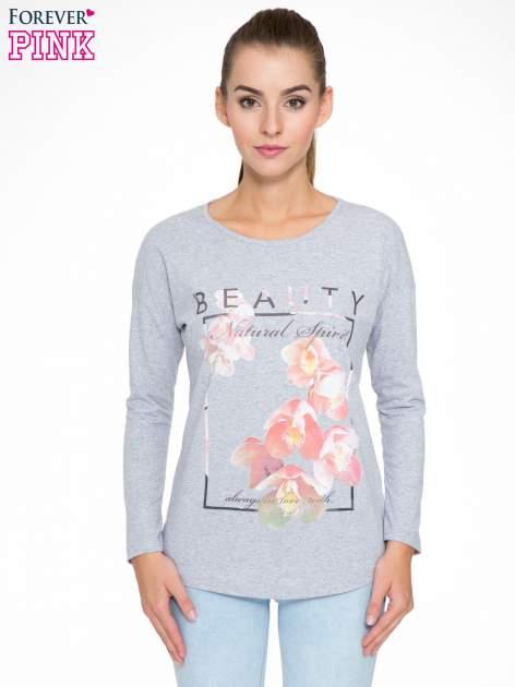 Szara bluzka z nadrukiem kwiatowym i napisem BEAUTY