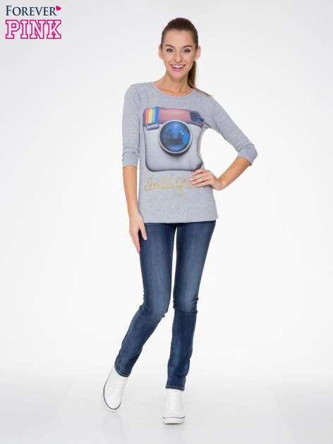 Szara bluzka z nadrukiem loga Instagrama                                  zdj.                                  2