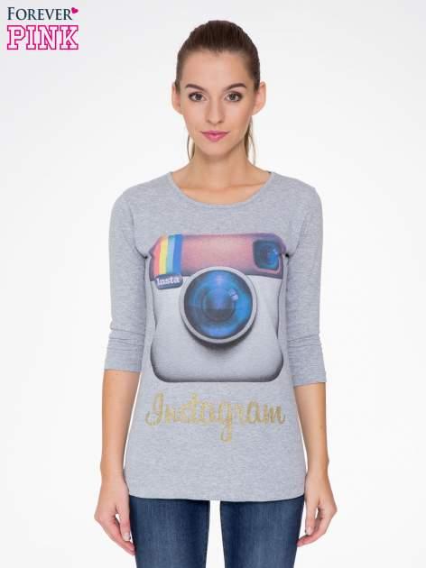 Szara bluzka z nadrukiem loga Instagrama                                  zdj.                                  1