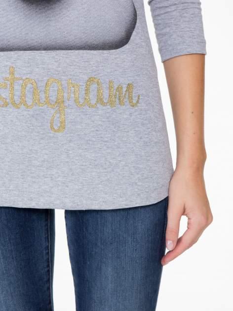 Szara bluzka z nadrukiem loga Instagrama                                  zdj.                                  6