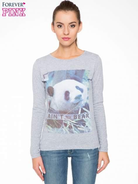 Szara bluzka z nadrukiem pandy                                  zdj.                                  1