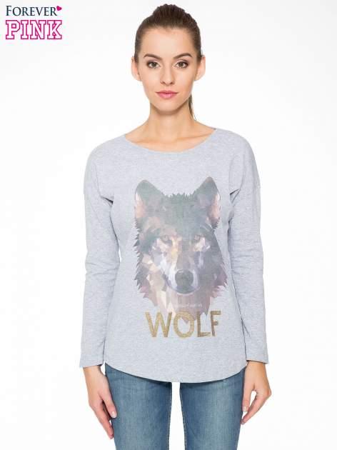 Szara bluzka z nadrukiem wilka i brokatowym napisem WOLF                                  zdj.                                  1