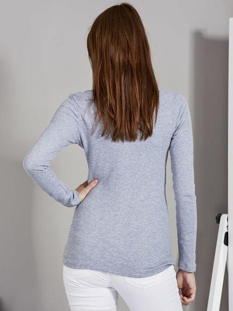 Szara bluzka z zatrzaskami przy dekolcie                               zdj.                              2