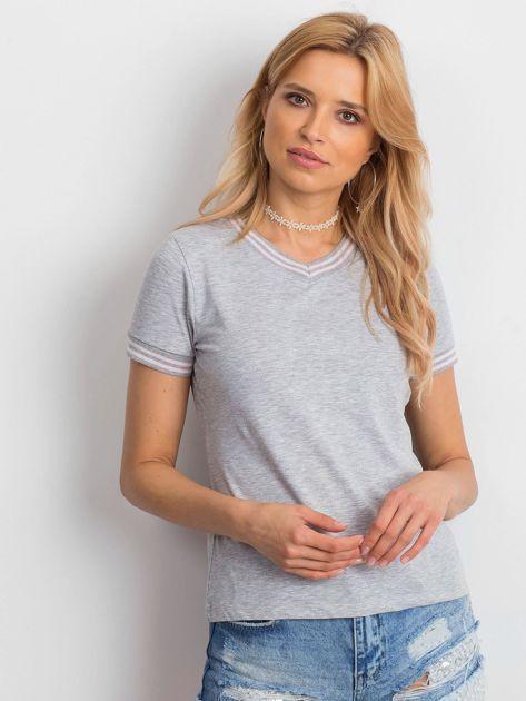 Szara bluzka ze ściągaczami