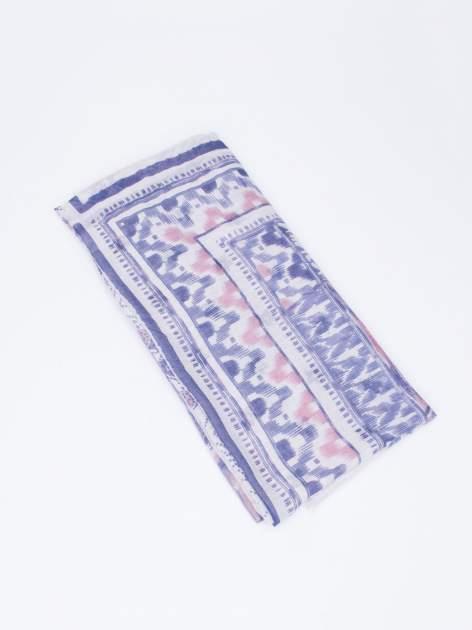 Szara chustka w aztecki wzór i kwiatki z frędzlami                                  zdj.                                  3