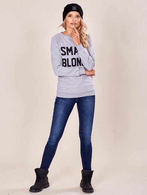 Szara dresowa bluza damska z napisem                              zdj.                              4