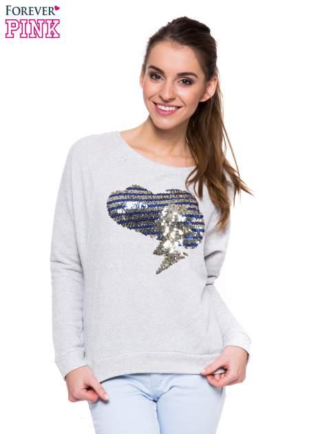 Szara dresowa bluza z aplikacją z cekinów                                  zdj.                                  1