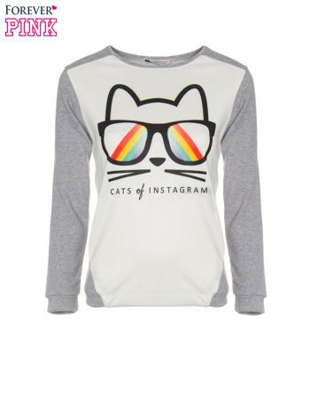 Szara dresowa bluza z kotem z motywem Instagrama                                  zdj.                                  5
