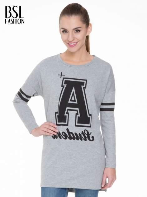 Szara dresowa bluza z literą A w stylu baseballowym                                  zdj.                                  2