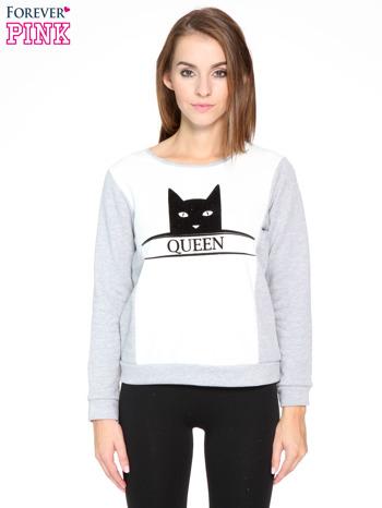 Szara dresowa bluza z nadrukiem kota i napisem QUEEN