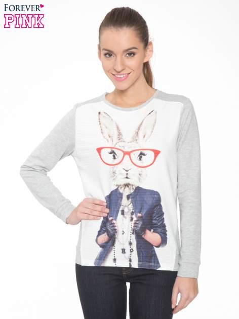 Szara dresowa bluza z nadrukiem królika                                  zdj.                                  1