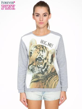 Szara dresowa bluza z nadrukiem tygryska i napisem HUG ME!                                  zdj.                                  1