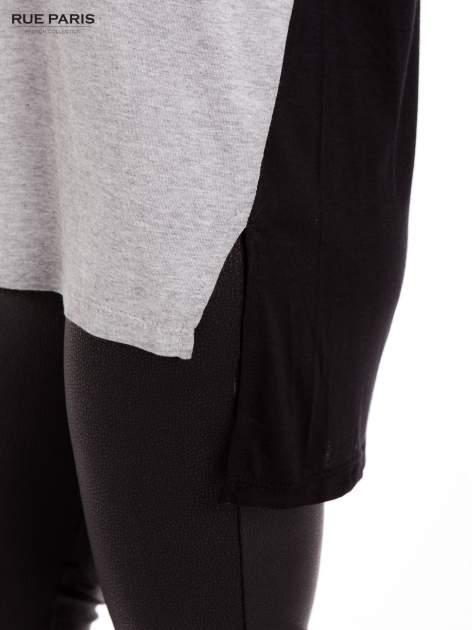 Szara dresowa bluzka z przedłużanym tyłem w kolorze czarnym                                  zdj.                                  7