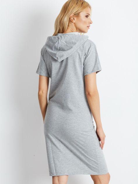 Szara dresowa sukienka z kapturem                              zdj.                              2