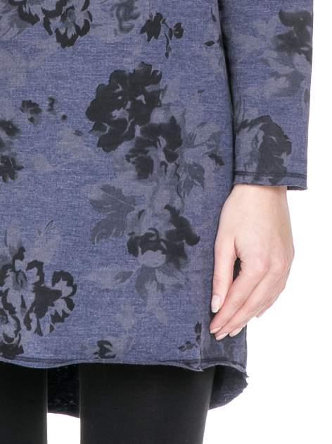 Szara dresowa sukienka z nadrukiem kwiatowym w kolorze czarnym                                  zdj.                                  6