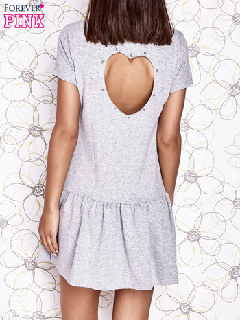 Szara dresowa sukienka z wycięciem na plecach                                   zdj.                                  4