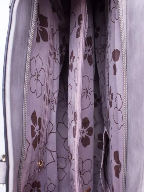 Szara fakturowana torba z odpinanym paskiem                                  zdj.                                  4