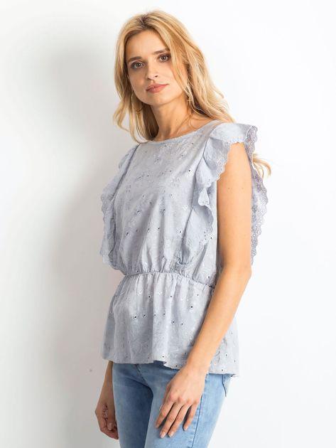 Szara haftowana bluzka z marszczeniem                              zdj.                              3