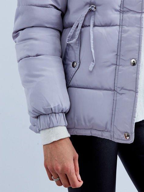 Szara kurtka zimowa pikowana                              zdj.                              6
