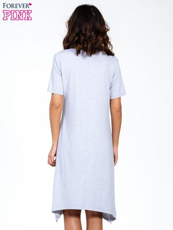 Szara luźna sukienka z asymetrycznym dołem                                  zdj.                                  4