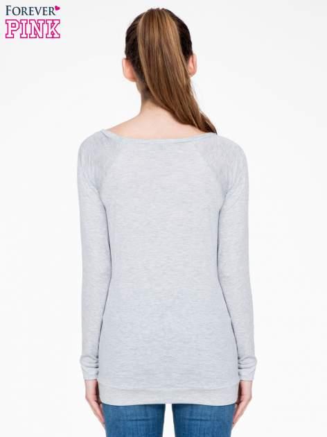 Szara melanżowa bawełniana bluzka z rękawami typu reglan                                  zdj.                                  4