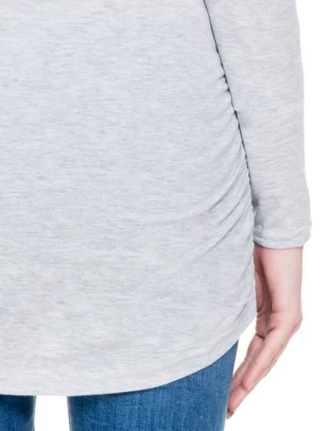 Szara melanżowa bluzka tunika z marszczonym dołem                                  zdj.                                  7