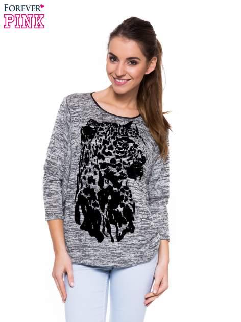 Szara melanżowa bluzka z nietoperzowymi rękawami i nadrukiem geparda