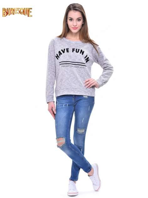 Szara melanżowa damska bluza z napisem HAVE FUN IN PARIS, NEW YORK, LONDON, MILAN                                  zdj.                                  2
