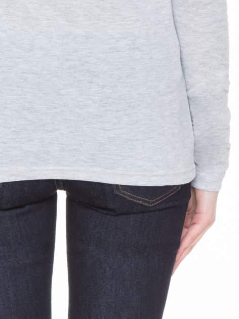 Szara melanżowa gładka bluzka z reglanowymi rękawami                                  zdj.                                  8