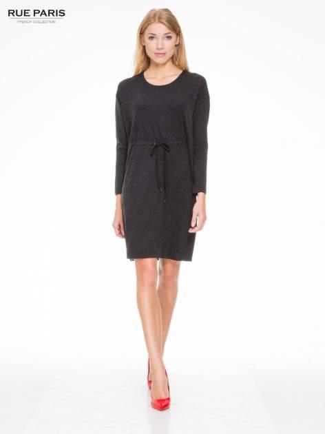Szara melanżowa sukienka z wiązaniem w talii                                  zdj.                                  2