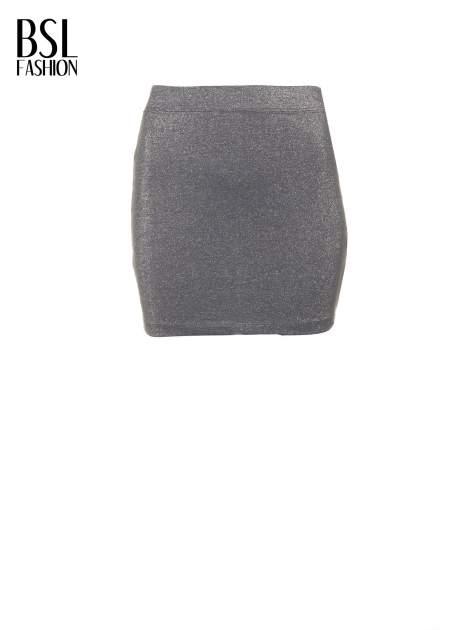 Szara mini spódniczka przeplatana srebrną nicią                                  zdj.                                  5