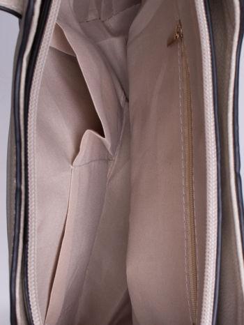 Szara pozioma torba ze złotymi detalami                                  zdj.                                  4