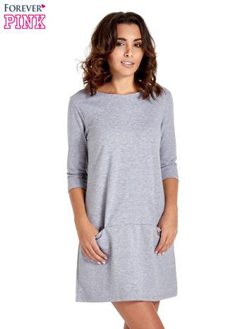 Szara prosta sukienka z kieszeniami