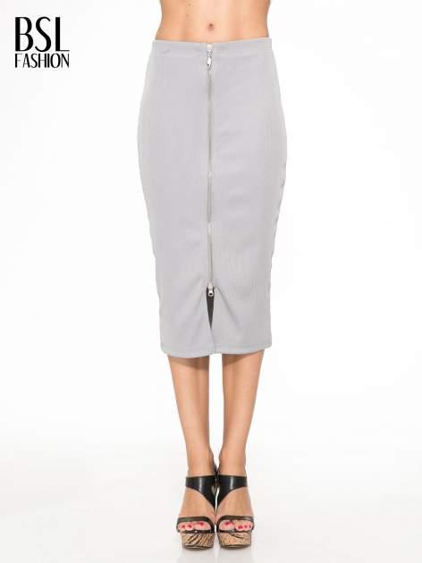 Szara spódnica midi z suwakiem z przodu                                  zdj.                                  1