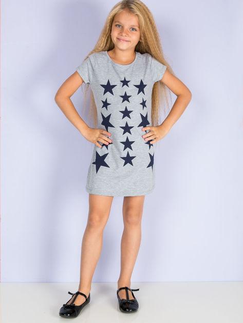 Szara sukienka dla dziewczynki z gwiazdkami                              zdj.                              2
