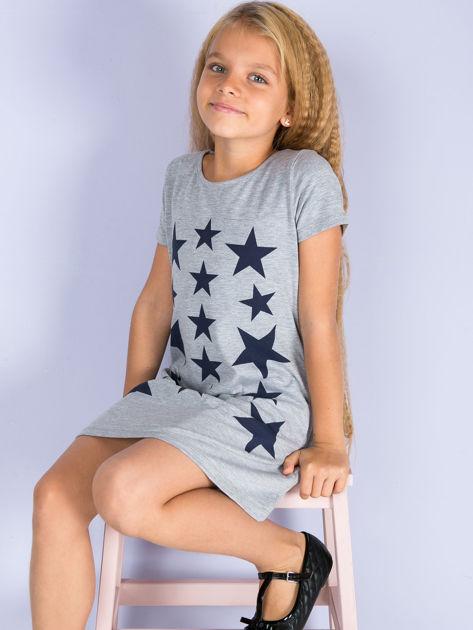 Szara sukienka dla dziewczynki z gwiazdkami                              zdj.                              5