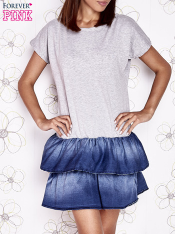 Szara sukienka dresowa z jeansowym dołem                                  zdj.                                  1