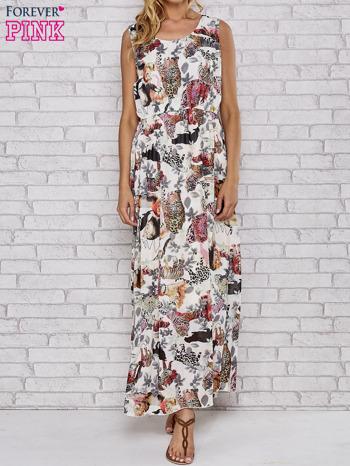 Szara sukienka maxi z motywem leopard print                                  zdj.                                  1