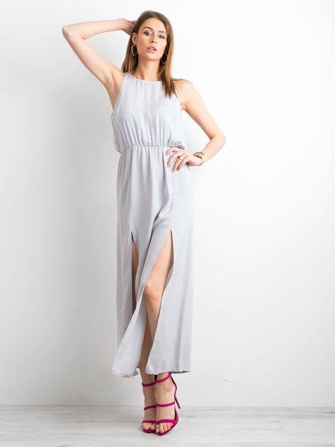Szara sukienka maxi z rozcięciami