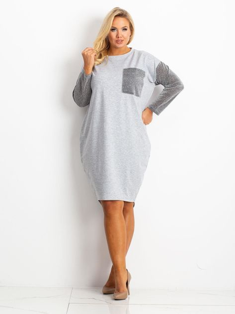 Szara sukienka plus size Desire                              zdj.                              4