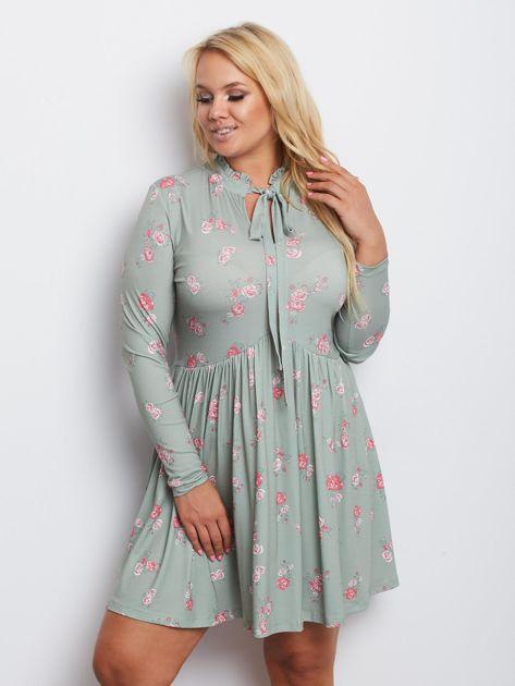 Szaro-zielona sukienka plus size Harrowing                              zdj.                              1
