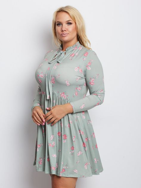 Szaro-zielona sukienka plus size Harrowing                              zdj.                              3