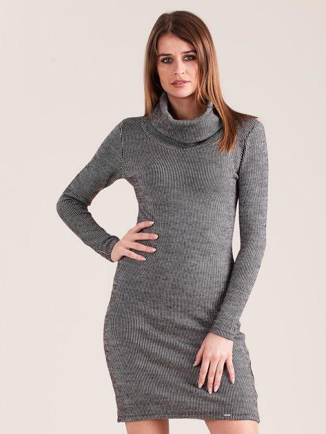 Szara sukienka w prążki z golfem                              zdj.                              1