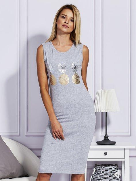 Szara sukienka z ananasami                              zdj.                              1