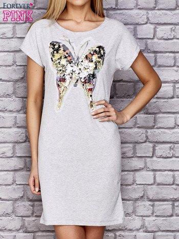 Szara sukienka z cekinowym motylem                                  zdj.                                  1
