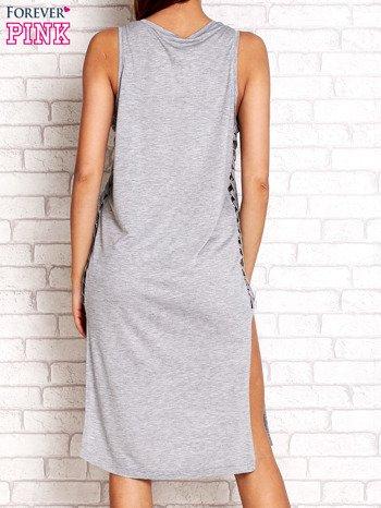 Szara sukienka z plecionymi wstawkami z boku                                  zdj.                                  2